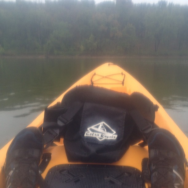 Single kayaking in a tandem kayak. #nofilter except for the ziplock bag my phone is in.  (Taken with Instagram)