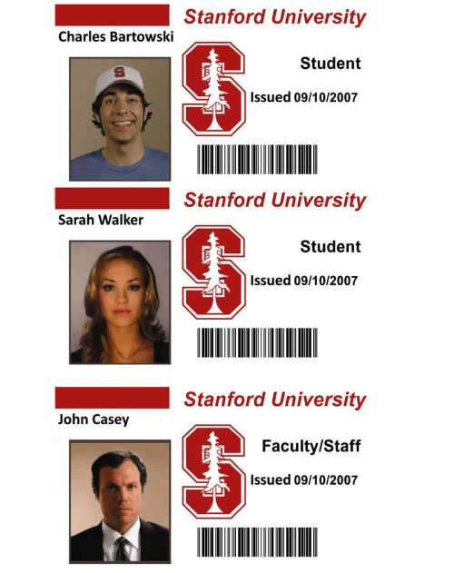 agentbartowski:  Just leaving these here for future reference.   Stanford IDs from episode 1x07: Chuck Vs the Alma Mater
