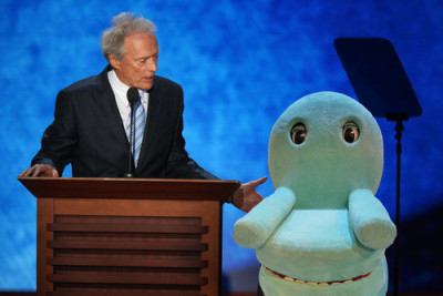 funnyordie:  The Internet's 20 Best Reactions to Clint Eastwood's Weird RNC Chair Rant Clint Eastwood gave a chair representing President Obama a bizarre and uncomfortably stern lecture at the Republican National Convention, and the Internet responded with some amazing reactions.  great actor/director. bad politics.