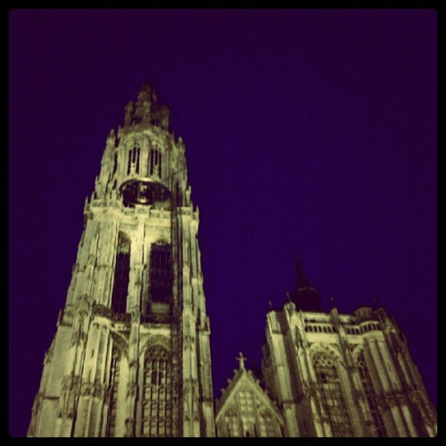 Cathedral in dat blue sky! Beautiful! #antwerp  (Taken with Instagram)