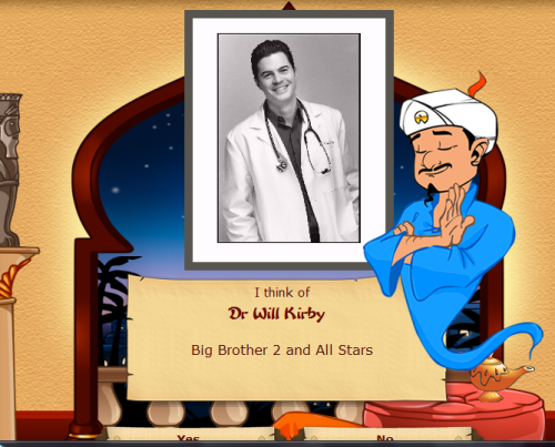 "chilltowninmypants:  ""Is your character some sort of doctor?"" Why, yes ""Is your character black-haired?"" Why, yes ""Is your character famous thanks to Big Brother?"" …"