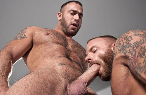 Tatted up muscle man Spencer Reed is entangled in a serious make out session with bearded muscled stud, Derek Parker. They exchange saliva, nipple biting, heavy rub downs and lusty fist slaps before Spencer can't wait any longer to wrap his mouth around Derek's pulsing hard cock. Slurping and sucking lead to mouth fucking, and Spencer working Derek to the edge. A fantastic cock sucker in his own right, Derek gets on his knees to service the super-sized Spencer. Find Out More at RagingStallion.com!!