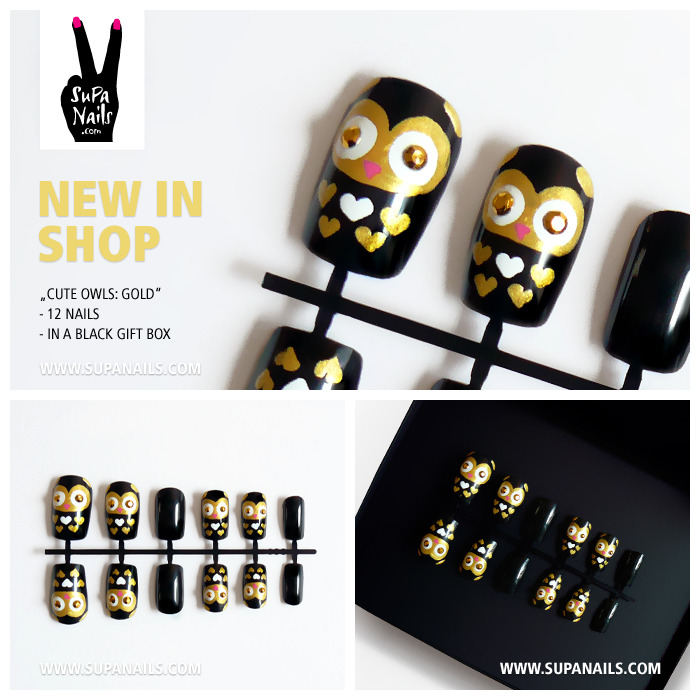"Supa Nails ""Cute Owls: Gold"" New in Shop 12 handpainted black/gold owl nails with rhinestone eyes and hearts - Set of 12 artificial designer nails - comes in a black gift box www.supanails.com/shop"