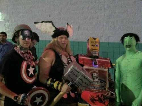 Horrible Avengers Costumes I want to see a Hulk movie where the Hulk has googly eyes.
