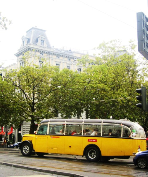 caught on camera this cute bus in Zurich