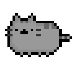 "Pusheen The Cat, the wonderfully large feline who lives over at pusheen.com, now rendered in a super retro 26 x 17 pixel resolution.  Requested by a not very anonymous fellow named ""Griever""."