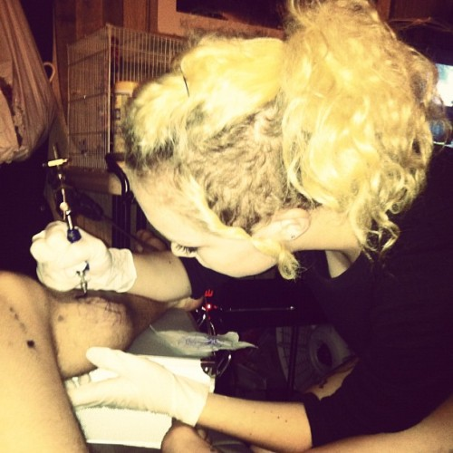 Tattooing John. I suck. (Taken with Instagram)