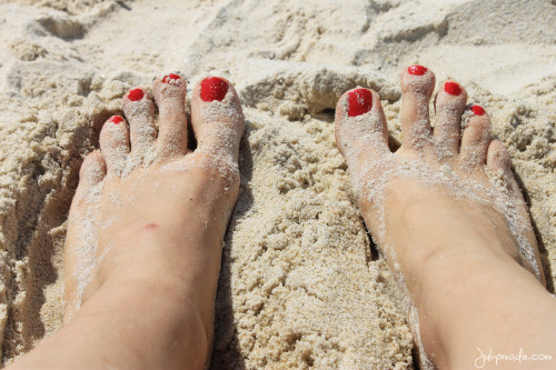 Toes in the sand. Vigo, Spain.