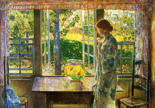 givemeyourkidney:  The Goldfish Window Childe Hassam 1916