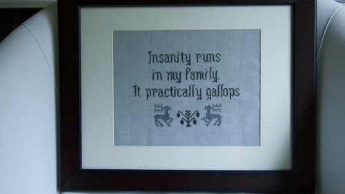 pixystitches:  Arsenic and Old Lace quote on Flickr. Originally I'd planned on a really nice border around it, but quickly realized that less is more with the quote. 1 over 2 on 28ct confederate gray cashel, using Dragonflylotus petite mulberry silk threads in Ravenscroft and Woodlands Shadow.  Beautiful! And one of my favorite quotes from one of my favorite movies. Perfection!