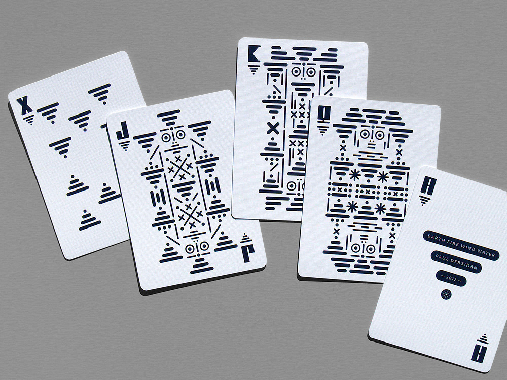 earth, fire, wind, water — playing cards by paul dersidan