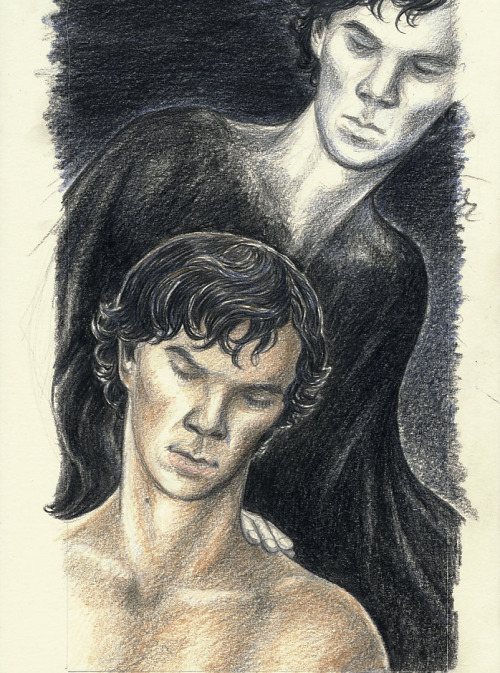 """Georgina's sketch of Sherlock posing for 'Death and the Virgin'"" Inspired by Emmadelosnardos' masterful fic In Confidence, particularly chapter 19 that features Sherlock's and his cousin Georgina's exchange of letters discussing the idea of the artwork. When I read the passage, I kept wondering what it would actually look like and which character Sherlock would pose for in the end. I went with the idea he'd pose for both, in the same picture."