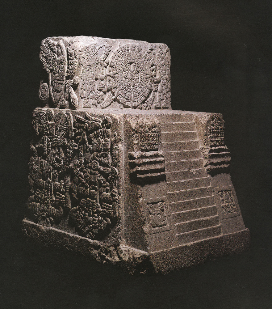 ancientart:  Aztec Temple Stone (Monument of Sacred War, 1507 AD) Motecuhzoma II throne, Museo Nacional de Antropología, Mexico City.