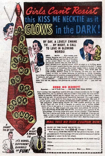 cryptofwrestling:  An ad for a nutty glow-in-the-dark Kiss Me tie (1941)