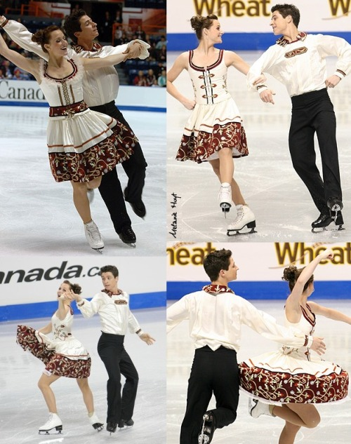 Tessa Virtue and Scott Moir skating the Yankee Polka at the 2007 Skate Canada and then, with a new bodice for Virtue, at the 2008 Canadian Nationals. Adorable costumes all round. Sources: photos.skatetoday.com/displayimage.php?album=72&pid=9915 photography.ice-dance.com/2007-2008-season/2008CanadianNationalChampionships/Sr/CD/Hoyt-2008-0116-2478.jpg.php skateshutterbug.zenfolio.com/p415113065/h1643254e#h28cf6350 www.flickr.com/photos/discolights444/2840130652/in/set-72157606747892419