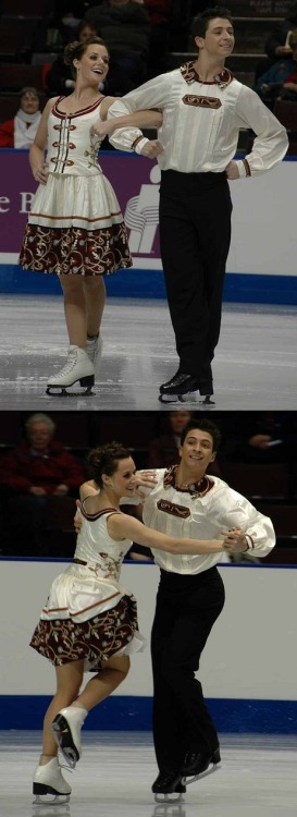 Tessa Virtue and Scott Moir's wonderful Yankee Polka costumes at the 2008 Canadian National Championships. Photos by janetliz. Source: http://www.flickr.com/photos/janetliz/sets/72157603801681622/with/2222559059/