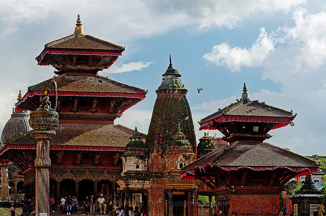 Temples in Patan Durbar Square by yadavop on Flickr.