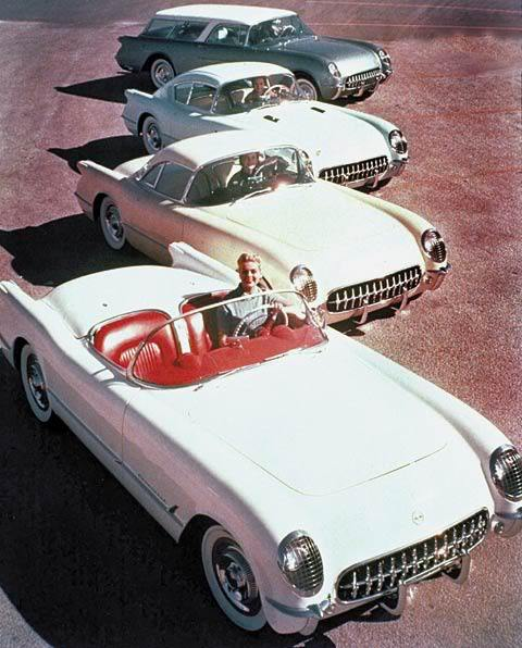 Chicks with very cool cars, 1954