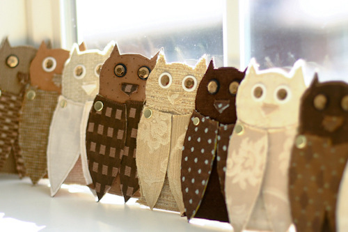 Upcycled Fabric + Paper Owls Invitations via(designsponge)