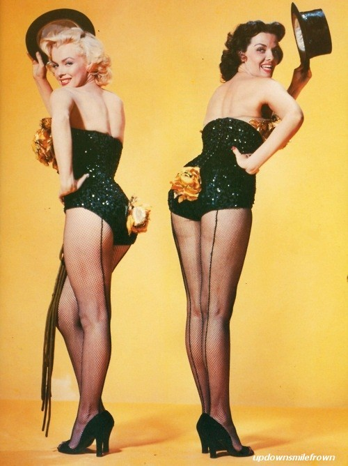 updownsmilefrown:  Marilyn Monroe and Jane Russell in Gentlemen Prefer Blondes (1953) by Frank Powolny