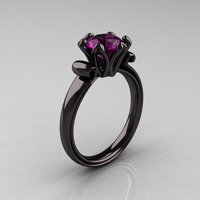 spooky-bat:  Black gold ring with Amethyst.