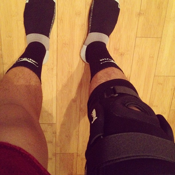 New hinged knee brace cus my other one sucks. LOL #volleyball #kneebrace #mizuno (Taken with Instagram)