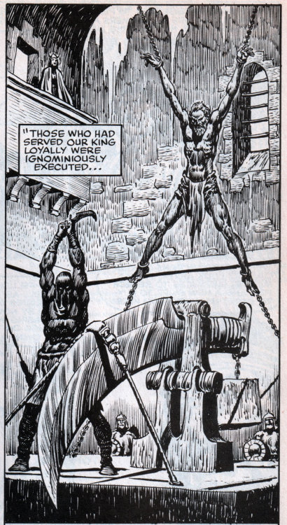 Was flipping through issue 99 of SAVAGE SWORD OF CONAN (April 1984) and saw this panel by John Buscema. BEST EXECUTION DEVICE EVER.