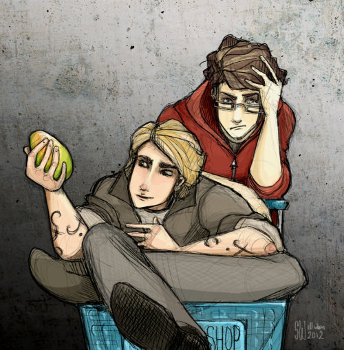 "theherondaleboys:  ""What's this?"" ""That's a mango,"" Simon stared at Jace. Sometimes it really was like Shadowhunters were from an alien planet. ""I don't think I've ever seen one of those that wasn't already cut up,"" Jace mused. ""I like mangoes."" TMI, CoFA - Simon, Jace, Mango (version 2) by =leabharlann"