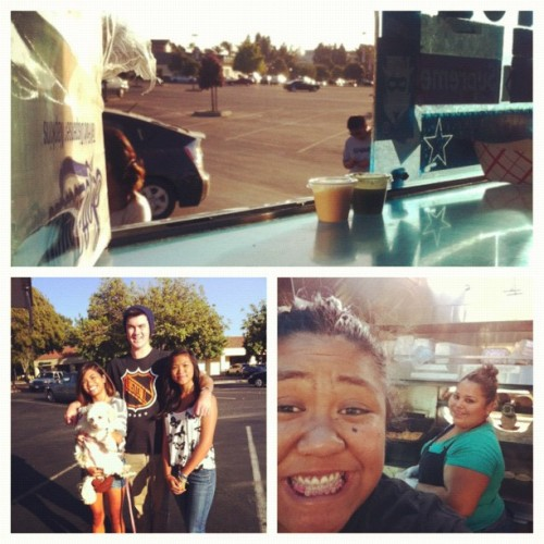 Top pic: view from inside the truck at milpitas!! Left pic: our first customer of the night!! Right pic: MoGo family Joanne the smiley cashier and Mari one of our top chefs!! Let's MoGo! #family#foodtrucks#milpitas#shortrib (Taken with Instagram)