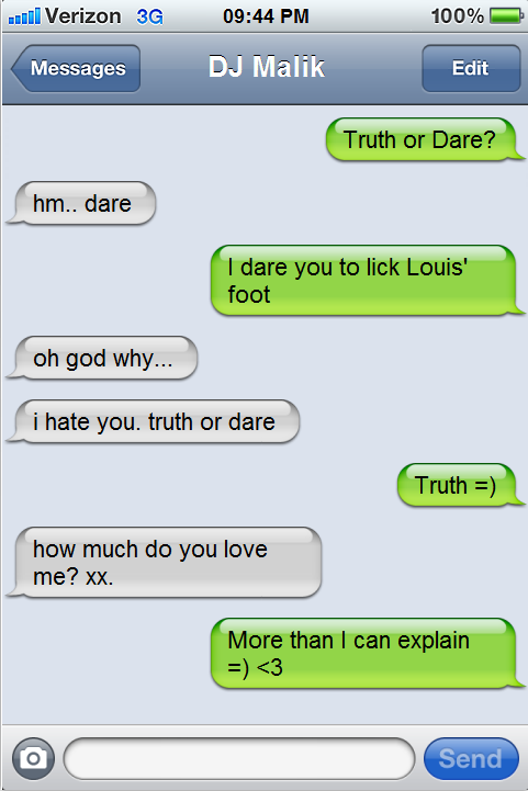 texting truth or dare questions