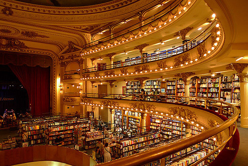 melanfolly:        This is a book store called El Ateneo in Buenos Aires, Argentina! You can have coffee while sitting on the stage. One of my favorite places in my city.