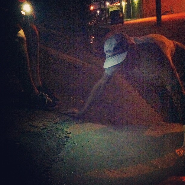 Smoothing out #concrete in the dark. photo cred @a_haters_hater.  lighting @noahdd #diy #skateboarding #savannah #georgia   (Taken with Instagram)