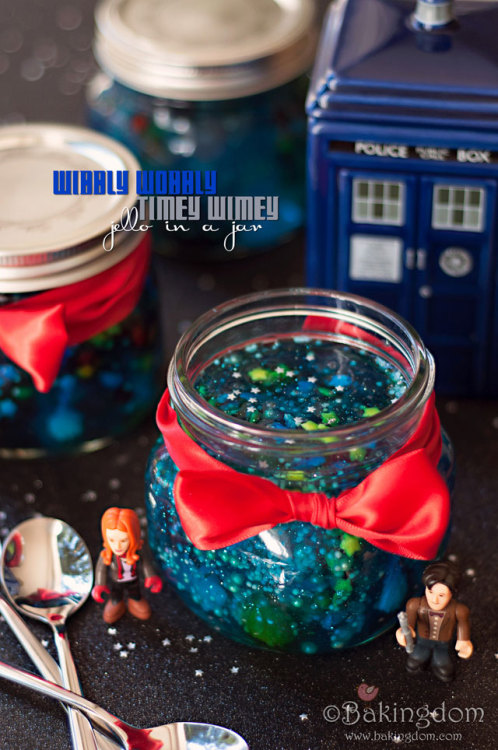 nerdache-cakes:  Bakingdom's Doctor Who Galaxy Jello Because Darla is amazing and thinks ahead unlike the rest of us, she thought of this super inventive galaxy jello in a jar. Check out the recipe on her Blog! Recipe Here