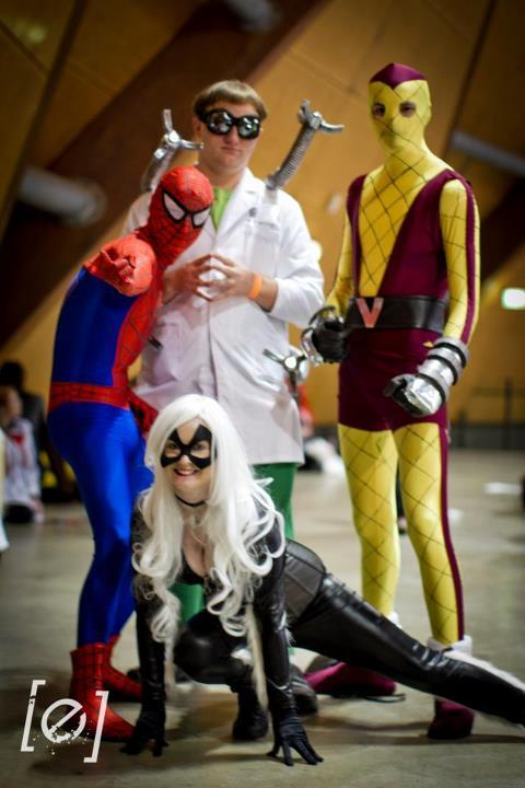 From this years Sydney Supanova. Me as The Amazing Spider-Man, once again the delicious Hayley Ford as Black Cat, Adam Burt as Doctor Octopuss and Marcus Ballard as The Shocker. For more photos like these check my Tumblr, or mine and Hayleys Facebook fan pages http://www.facebook.com/BaldCosplayer & http://www.facebook.com/LittleDotCosplays?ref=ts
