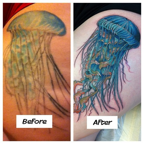This is my jellyfish. You can see the before picture there done by a different artist-I just had it re-done or rather covered in Charleston SC at Holy City Tattoo by Rob. He did a FANTASTIC job and I'm in love with my jellyfish once again. I got a jellyfish because Seven Pounds is one of my favorite movies and to me, it signifies redemption and living your life for others. I'm about to be a paramedic so it fits. If you guys are ever near Charleston, check out Holy City-they do quality work.