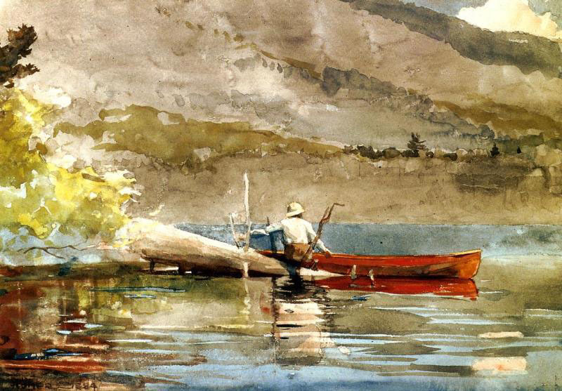 chasingtailfeathers:  Winslow Homer - The Red Canoe, c. 1889