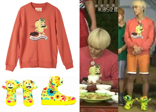 120901 BEAST @ INVINCIBLE YOUTH 2 | DONGWOONJEREMY SCOTT X ADIDAS JS BEAR SNEAKERS - $200EIGHT SECONDS TACOMAN SHIRT - ₩54,900 (approx. $48)