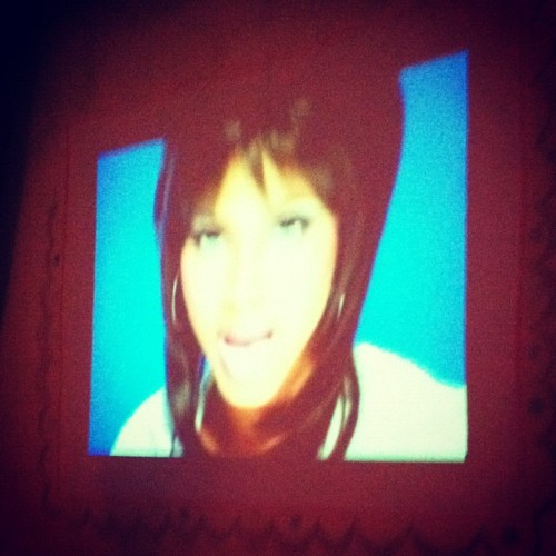 Projecting 90s R&B music videos.  (Taken with Instagram)