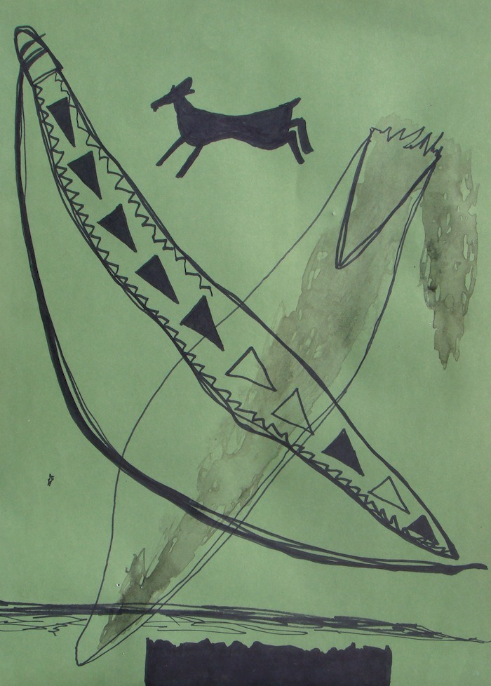 BOW STAFF (AND HUNT). 2012 drawing by Topher Mileski