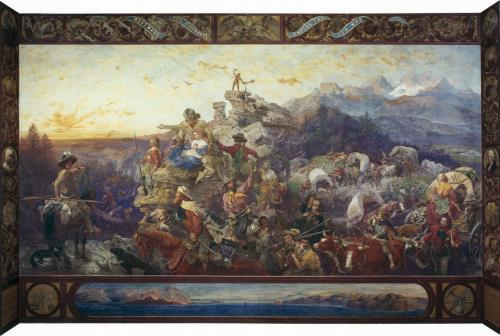 "Emanuel Leutze, Westward the Course of Empire Takes Its Way, mural in U.S Capitol, 1861. (click through for high-res.) I'm taking American Art I this semester and I was assigned this work to give a ""Masterpiece Talk"" on. At first I groaned, like, Manifest Destiny, seriously? Gross. But now I'm kind of excited and think I can find a lot of interesting things to talk about. Unsurprisingly it's the young black man in the middle foreground who intrigues me the most. (Semi-related tangent: I was looking at the GOP platform today and the section on military/security/foreign policy is called ""American Exceptionalism."" STFU, guys. I can't even.)"
