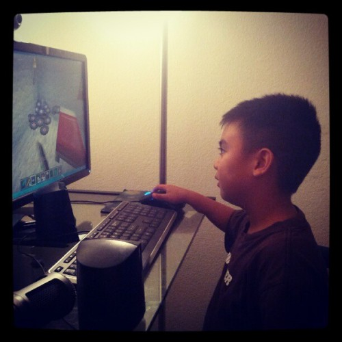 My 5-yr old nephew loves #Minecraft a little too much. #cute #kid #videogames (Taken with Instagram)
