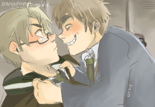 orange-plum:  Gakuen UsUk from request anonymous as part of my weird/creepy/horny/whatever-you-want-to-call-it England and America scribble challenge thing. Requests of England and America will come out weird/creepy if you ask, just fyi (stupid kink… lol)