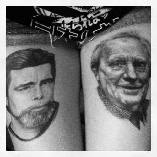 Stephen King & J.R.R. Tolkien. done by Half Pint at Marvel Tattoo in South Bend, IN