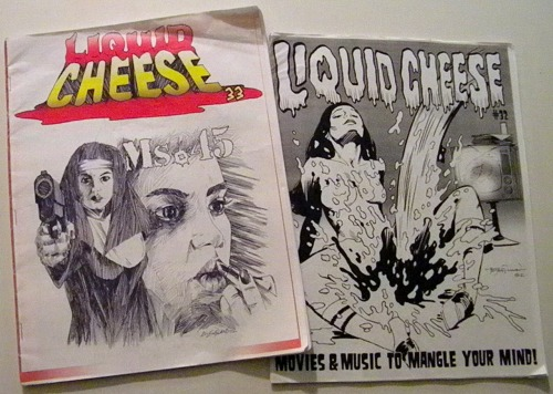 My buddy Dave gave me these latest issues of his fanzine, LIQUID CHEESE, when I was at Flashback Weekend. Not to be confused with a band of the same name, Liquid Cheese is a 'zine he's been writing and making by hand for years, compiling horror convention news with all kinds of horror reviews. The guy's got a photographic memory, so his articles are usually pretty interesting and factual. The Ms. 45 cover was drawn by my good buddy, artist Don England. http://www.donaldengland.com/ The other issue's cover is by Mike Hoffman. http://www.mikehoffman.com/ Interested parties may send purchase inquiries to Dave Kosanke on his Facebook page for Liquid Cheese at: http://www.facebook.com/pages/Liquid-Cheese-Fanzine/160299044088480