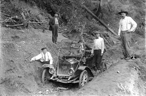 First automobile on the Index-Galena road, 1911. -Lee Pickett