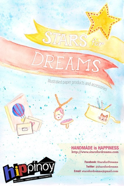 Stars for Dreams will be selling handmade illustrated notebooks, accessories, and pouches on October 27 and 28 at the Hip Pinoy Art + Food Fair. Hope to see you there!