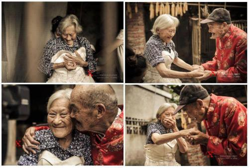 Age 104 year old man and his age 100 wife, they are poor. They have been married for 81 years and they never got to take a picture together on their wedding day. So when she finally tried on the wedding dress, he was so happy to hug her, and told her how beautiful she was.