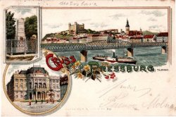 Bratislava Castle and the Danube in Bratislava Slovakia - historical postcard from Bratislava - 1897 Monumental castle known from the beginning of 10th century, built on former Slavonian fortification from 9th century from Great Moravian Empire above Danube river. Latest reconstruction is from 1956-1968. One of the city signatures. Location: N 48.142276, E 17.100043 Architecture styles seen in castle: romanesque, gothic, renaissance, baroque The castle stands on a hill where the earliest occupation dates back to the Neolithic period (5th millennium BC). The Castle was first time mentioned in Salzburg annals in 907 AD. Current appearance was built in 15th century AD (1427). The palace wing was built between 1431-34. Next reconstruction happened between 1552 - 1639 lead by Italian architects. The castle became coronation headquarters during the Tartar incursions from the east. The last big reconstruction was based on works of french, italian and austrian architects - J. N. Jadot, L. N. Pacassi and J. B. Martinelli in 1750-1760. In 1811 the castle was ruined by big fire and for 140 years remained damaged. The reconstruction started in 1953 restored its original appearance.