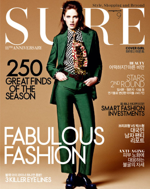 Heidi Mount covers Sure Korea September issue, lensed by James Macari.  Original Article
