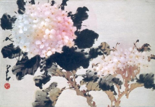 Hydrangea, Chao Shao-an, 1960s, album leaf, ink and color on paper.